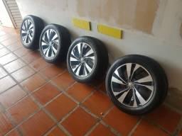 Roda nova com pneu novo polo tsi aro16 pneu goodyer