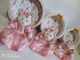 Kit  com trio de ursinhos, mas trio de nichos, decoração quartinho bebê