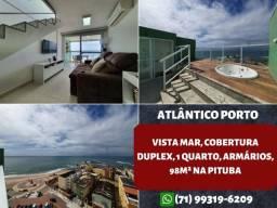 Atlântico Porto, vista mar, cobertura duplex, 1 quarto e 98m² na Pituba - Maravilhoso