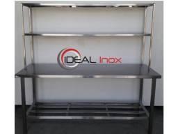 Mesa Bancada Inox com dupla prateleira de apoio