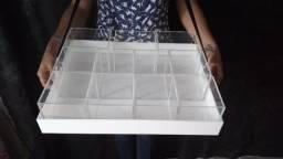 Tabuleiro Bandeja Gourmet com caixas móveis