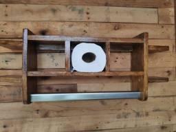 Porta toalha rústica com suporte 3 papel higiênico
