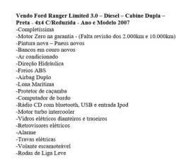 Ford Ranger 3.0 - Limited -Turbo - Cab. Dupla - 4x4 - Pintura Nova - Pneus novos - Couro - 2007