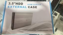 Case Gaveta HD Externo 3.5 USB 2.0/3.0 PC com chave e parafuso de montagem