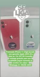 Mundicell megapromo iphone 11 64 gb lacrado 1 ano de garantia apple