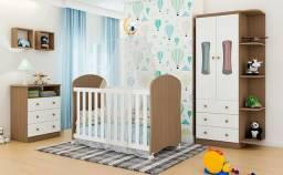 Quarto Infantil Completo Com Guarda Roupa Luna 02 Portas, Berço e Cômoda