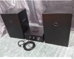 "Amplificador 200wrms + par de caixas 12"" 100wrms cada"