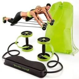 Elástico e Roda de Exercício Aparelho Abdominal Revoflex Xtreme