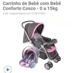 Carrinho de passeio infantil + bebê conforto