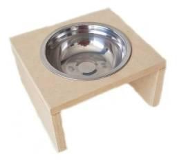 Comedouro Individual Gato Cachorro Pet Mdf 15mm C Pote 300ml