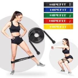 Kit Miniband 5 Elásticos Circulares Mini Band + Corda De Pular Slim Treino Funcional