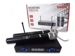 Microfone Sem Fio Duplo Uhf Digital Tomate Mt-2207