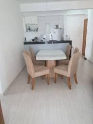Mesa de jantar Imbuia(160x90)Málaga tampo vidro branco real base Domus décor + 6 cadeiras