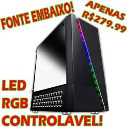 Gabinete Gamer Led RGB Controlável! (Lindos Efeitos) Fonte em Baixo!