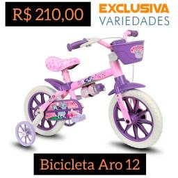 Bicicleta Infantil Aro 12 Menina Nathor + Entrega Grátis