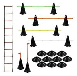 Escada Agilidade + 10 Cones Furados C/ Barreira + 10 Pratos