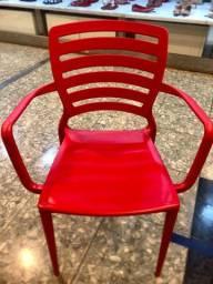 4 cadeiras tramontina (vermelha) com braço