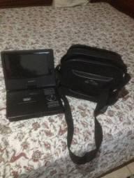 Mini TV e DVD portátil com bolsa estojo