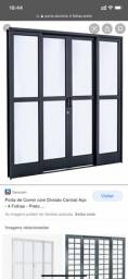 Porta de aluminio vidro preto