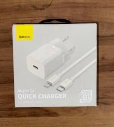Carregador Rápido Baseus iPhone+Cabo Lightning Lacrado
