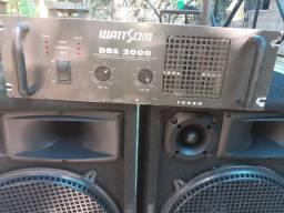 """Caixa 3 vias com falante de 15"""" e amplificador DBS 2000"""