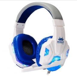 Headset Pro Gaming Gears C/Led Branco/Azul/Vermelho - PC, Celular
