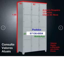 Armario Roupeiro 12 Portas- PP- Novo- Chapa 26- Loja Empresa Industria Oficina