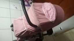Carrinho Bebê Berço Reversível Thor Tutti Baby - Rosa + Roupinhas femininas de brinde