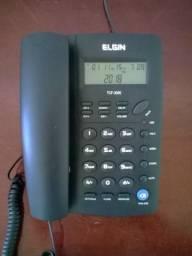 Telefone fixo com fio e identificador de chamada