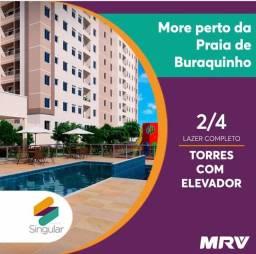 Singular, MRV, apto de 1/4, com varanda e elevador, na Praia de Buraquinho