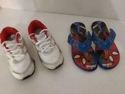 Lote de calçados + mochila do 25 ao 29