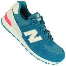 Tênis Newbalance K574 Azul Turquesa E Branco