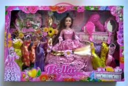 Boneca Bella Fashion Acessorios E 9 Vestidos * Rapunzel