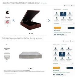 Conjunto de cama box baú e colchão ortobom de casal - pouquíssimos usados
