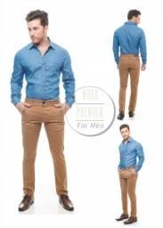 Camisa social jeans slim