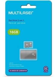 Título do anúncio: Pen drive 2 em 1 micro sd pen drive multilaser 16gb
