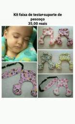 Kit faixinha de testa+suporte de pescoço para bebê conforto ou cadeirinha