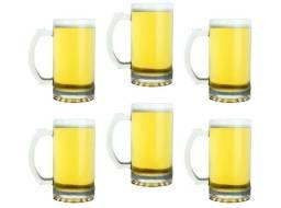 Kit C/ 6 Caneca Chopp 550ml Vidro Cerveja -Novo