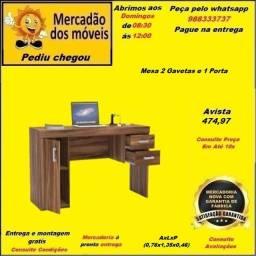 Mesa 2 gavetas e 1 Porta em até 10x nos cartões(Entrega e montagem grátis)