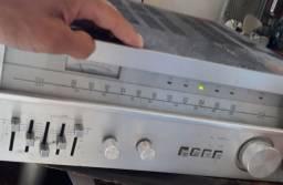 Amplificador De Som + Duas Caixas De Som C/ Boca De 12