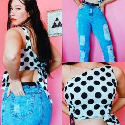 Cropped + Calça Jeans