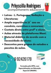 Aulas de reforço (L. Portuguesa, Redação e Literaturas)