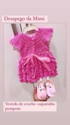 Vestido de croche NOVO! 0 à 6 meses