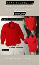 1 Camisa vermelha marca ANNE FERNANDES original Tam GG manga bufante punho lastex