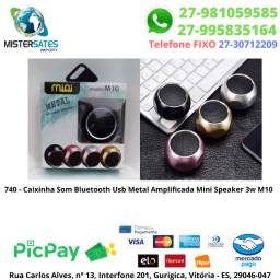 740 - Caixinha Som Bluetooth Usb Metal Amplificada Mini Speaker 3w M10