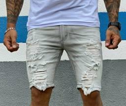 Bermuda jeans masculina original Destroyed rasgos