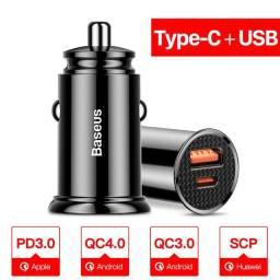 Título do anúncio: Carregador Veicular Turbo Baseus 5A 30w QC 4.0 Usb + Tipo C PD, 3x s/ juros no cartão