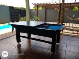 Mesa de Bilhar Tentação Tabaco Tecido Azul Modelo LDS5421