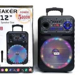 Caixa de Som 5000W Bluetooth Microfone S/ fio e Controle Remoto