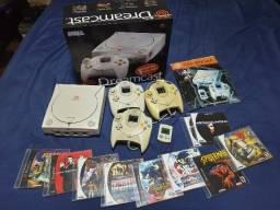 Dreamcast Completo, 3 Controles + Vmu + Caixa Em Mdf + Jogos